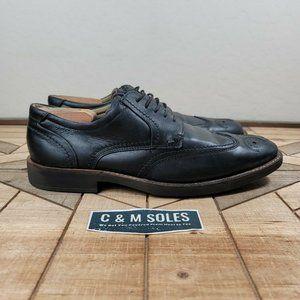 ECCO Dress Shoe Black Oxford Wingtip Shock Point